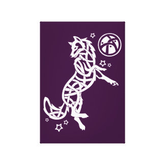 Purple Celtic Tribal Wolf Canvas Print
