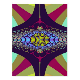 Purple Centipede Fractal Postcard