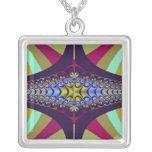 Purple Centipede Fractal Square Pendant Necklace