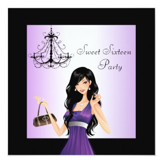 Purple Chadelier Sweet 16 Birthday Party Card