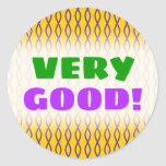 [ Thumbnail: Purple Chain-Like Pattern On a Yellow Background Round Sticker ]