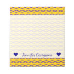 [ Thumbnail: Purple Chain-Like Pattern On a Yellow Background Notepad ]