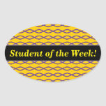 [ Thumbnail: Purple Chain-Like Pattern On a Yellow Background Sticker ]