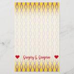 [ Thumbnail: Purple Chain-Like Pattern On a Yellow Background Stationery ]