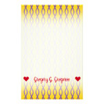 [ Thumbnail: Purple Chain-Like Pattern On a Yellow Background Stationery ]