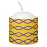 [ Thumbnail: Purple Chain-Like Pattern On a Yellow Background Votive Candle ]