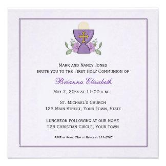 """Purple Chalice First Communion 5.25"""" Square Invitation Card"""