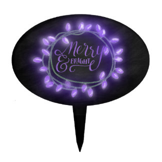 Purple Chalk Drawn Merry and Bright Holiday Cake Topper