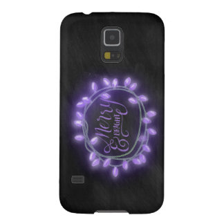 Purple Chalk Drawn Merry and Bright Holiday Galaxy S5 Case