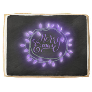 Purple Chalk Drawn Merry and Bright Holiday Jumbo Shortbread Cookie