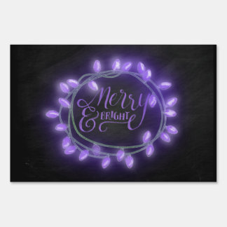 Purple Chalk Drawn Merry and Bright Holiday Sign