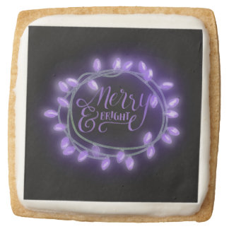 Purple Chalk Drawn Merry and Bright Holiday Square Shortbread Cookie