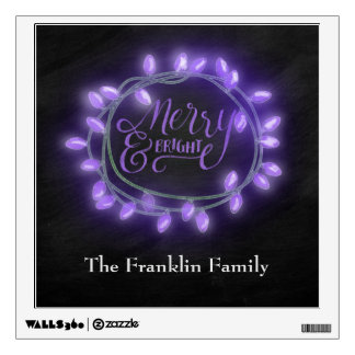 Purple Chalk Drawn Merry and Bright Holiday Wall Decal