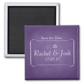 Purple Chalkboard Save the Date Magnet