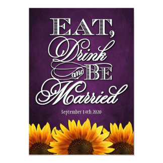 "Purple Chalkboard Sunflower Wedding Invitations 5"" X 7"" Invitation Card"