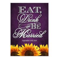 Purple Chalkboard Sunflower Wedding Invitations