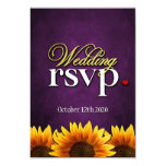 Purple Chalkboard Sunflower Wedding RSVP Cards