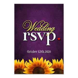 "Purple Chalkboard Sunflower Wedding RSVP Cards 3.5"" X 5"" Invitation Card"