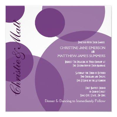 Purple Champagne Bubbles Modern Wedding Invitation