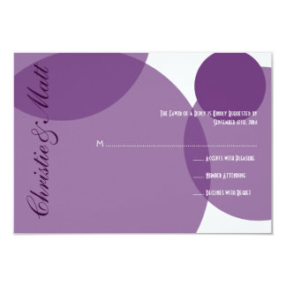 Purple Champagne Bubbles Modern Wedding RSVP Card