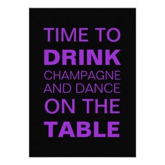 Purple Champagne & Dancing 21st Birthday Invite