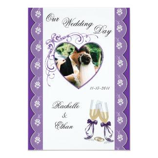Purple Champagne Glass Wedding Photo Invitations
