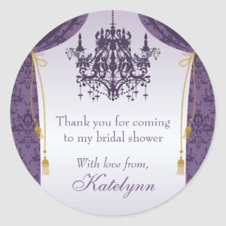 Purple Chandelier and Damask Curtain Bridal Shower Classic Round Sticker