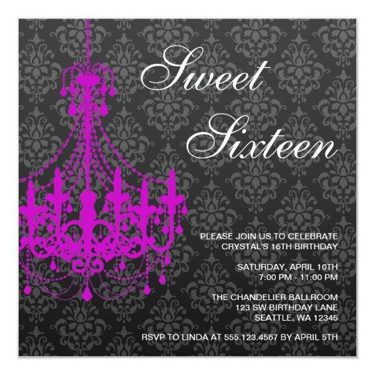 Purple Chandelier Black Damask Sweet 16 Birthday Card