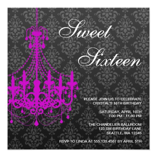 Purple Chandelier Black Damask Sweet 16 Birthday Personalized Announcements