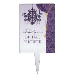 Purple Chandelier Damask Curtains Bridal Shower Cake Topper