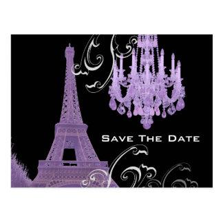 Purple Chandelier Effiel Tower Save The Date Postcard