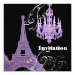 Purple  Chandelier Effiel Tower Wedding Invitation