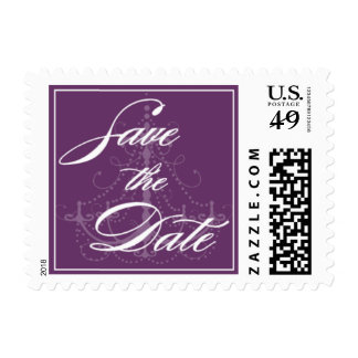 Purple Chandelier Save the Date Postage