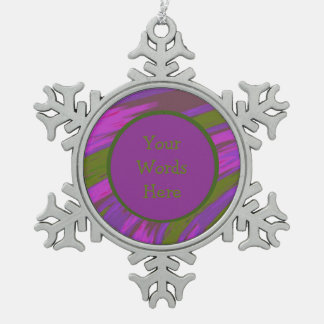 Purple chartreuse Color Swish Abstract Snowflake Pewter Christmas Ornament