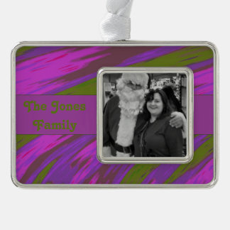 Purple chartreuse Modern Swish Abstract Silver Plated Framed Ornament