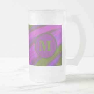 Purple chartreuse Monogram Swish Abstract Frosted Glass Beer Mug