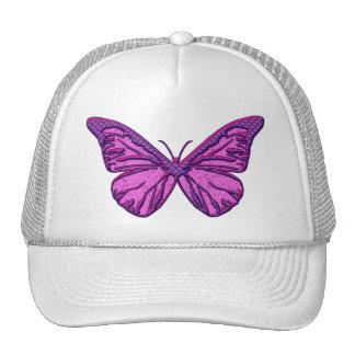 Purple Check Butterfly Trucker Hats