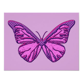 Purple Check Butterfly Personalized Invites