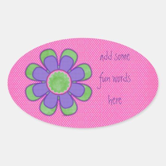 Purple Check Flower Oval Sticker