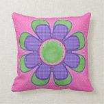 Purple Check Polkadot Flower Pillows