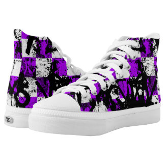 Purple Checker Graffiti High Tops