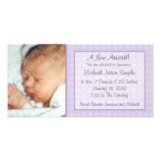 Purple Checkerboard New Baby Photo Card