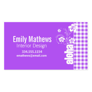 Purple Checkered Gingham; Aloha Double-Sided Standard Business Cards (Pack Of 100)