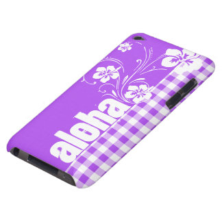 Purple Checkered Gingham; Aloha iPod Touch Case-Mate Case