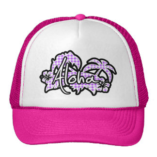 Purple Checkered Gingham; Aloha Trucker Hat