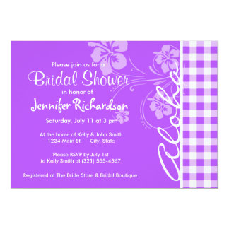 "Purple Checkered Gingham; Aloha 5"" X 7"" Invitation Card"