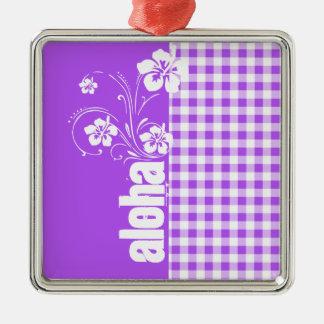Purple Checkered Gingham; Aloha Metal Ornament