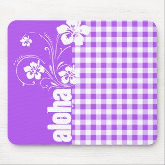 Purple Checkered Gingham; Aloha Mouse Pad