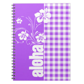 Purple Checkered Gingham; Aloha Spiral Note Book