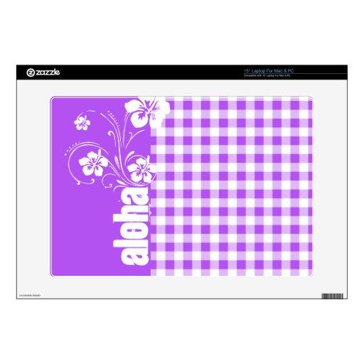 Purple Checkered Gingham; Aloha Laptop Decal